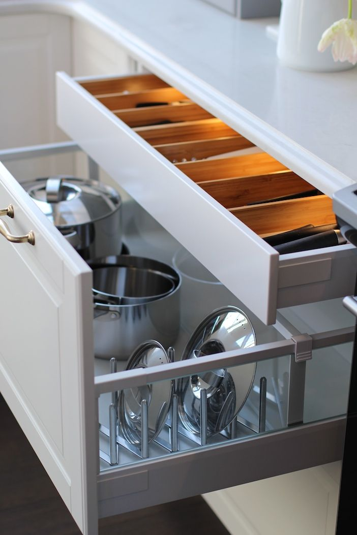 Organizing Kitchen Storage Systems and Pantry for Ultimate Comfort. Large bottom box for pans
