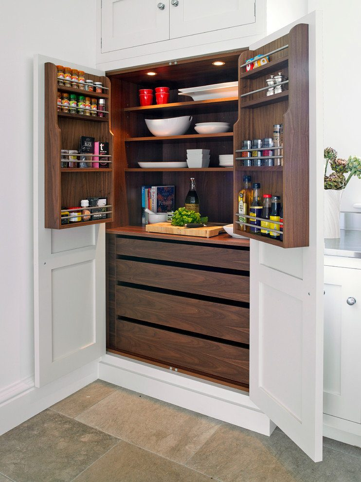 Organizing Kitchen Storage Systems and Pantry for Ultimate Comfort. Modern design in combination of wooden species
