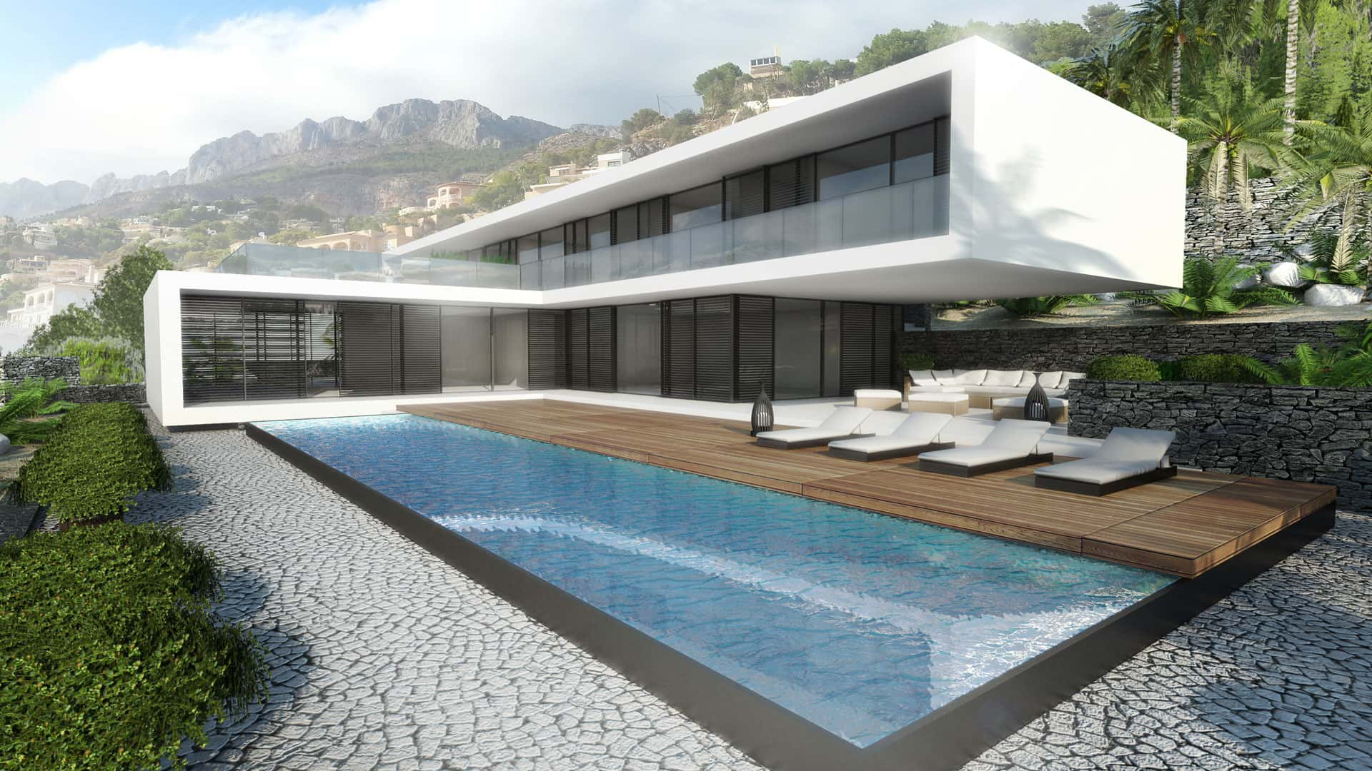 Modern Unexpected Concrete Flat Roof House Plans. Pool with the pebble pavement and the wooden deck for chaise-lounges