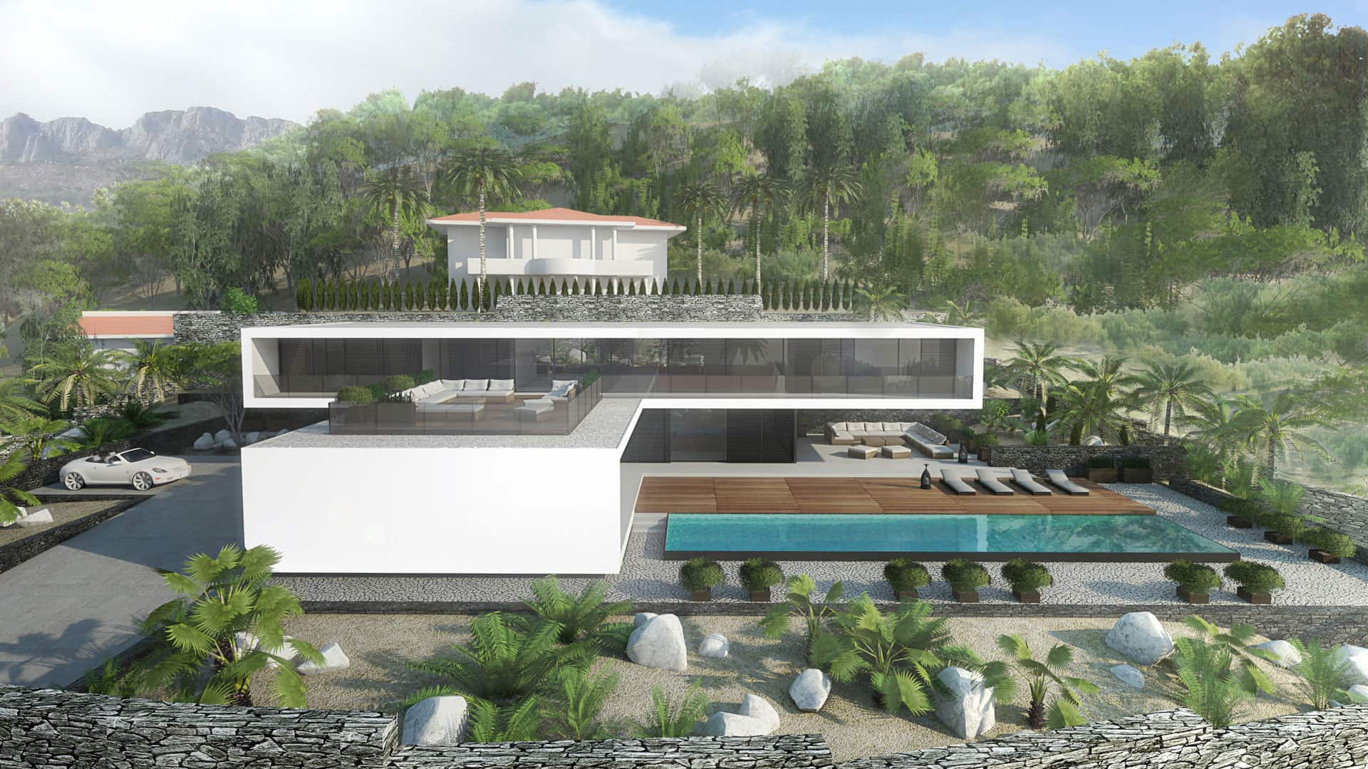 Modern Unexpected Concrete Flat Roof House Plans. Grandeur scale cottage of two-storey design