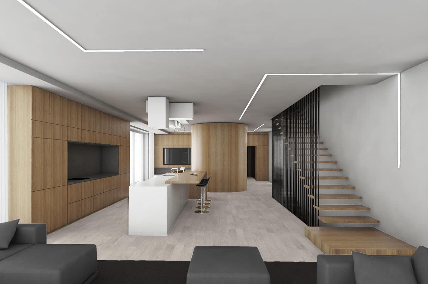 Villa G interior design view to the kitchen zone