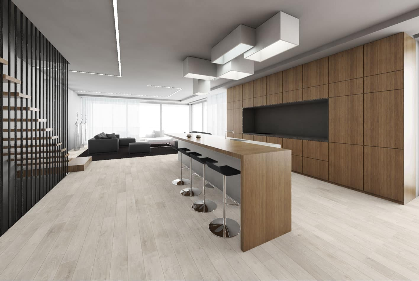 Central island with the bar stool group and black colore sofa