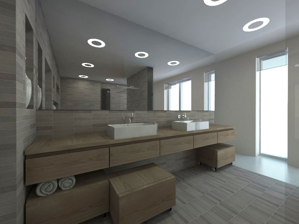 Modern bathroom design with disc built-in fixtures and large mirror