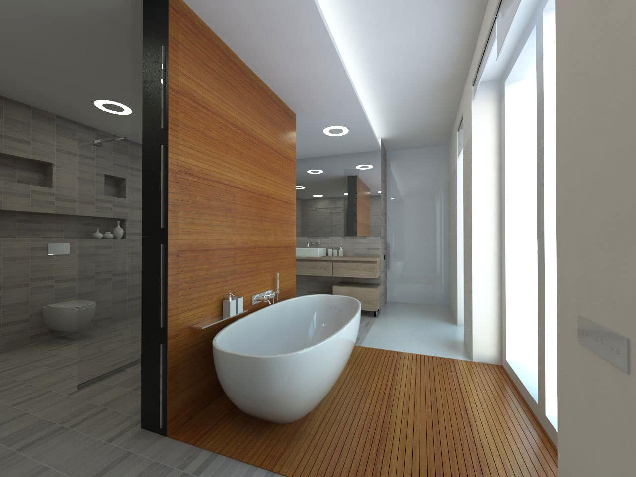 Classy wooden trimmed walk through bathroom with the eggshell bathtub