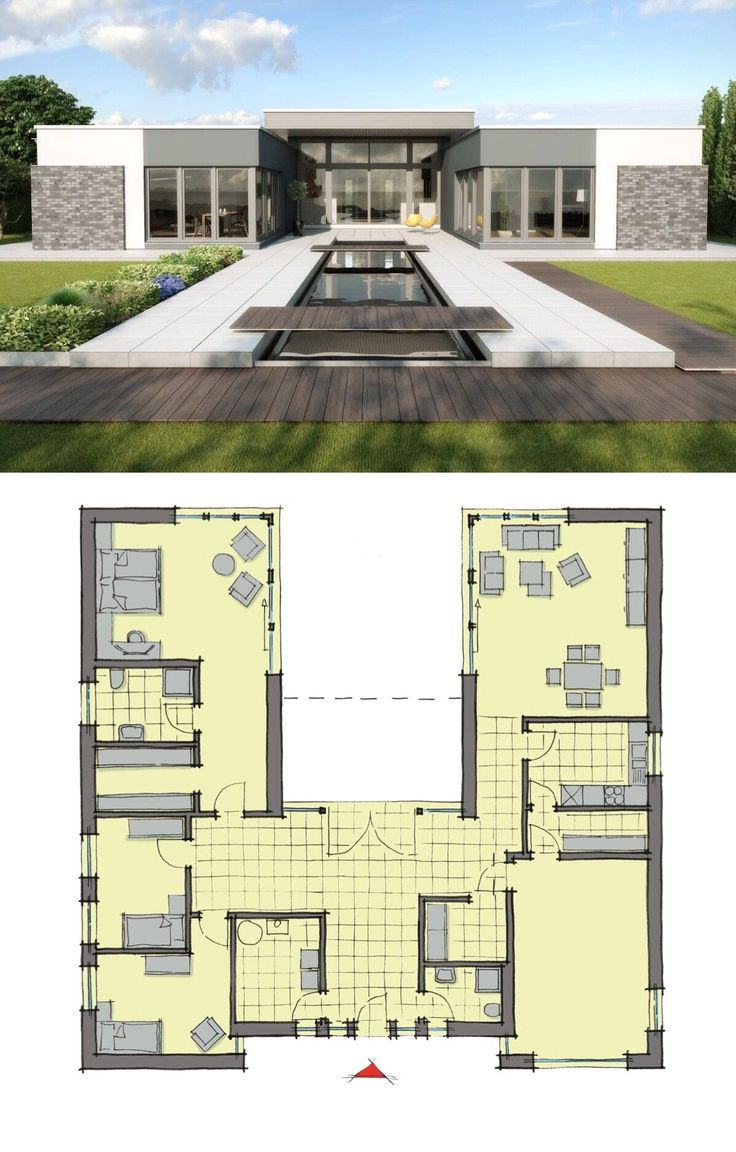 Concrete Flat Roof House Plans. The computer model of semi-open courtyard one-story cottage
