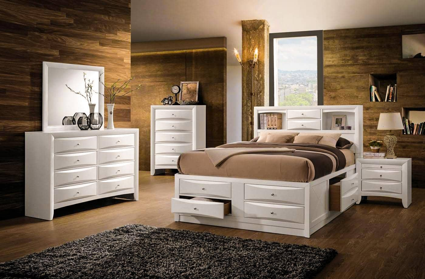Simple Ways to Make Your Home for Winter. Cozy wooden trimmed bedroom with queen white furniture set
