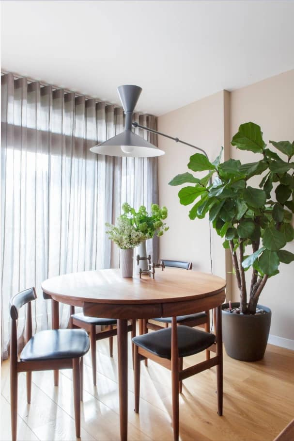 Simple Ways to Make Your Home for Winter. Adding some plants to the dining room with modern design and huge lamp