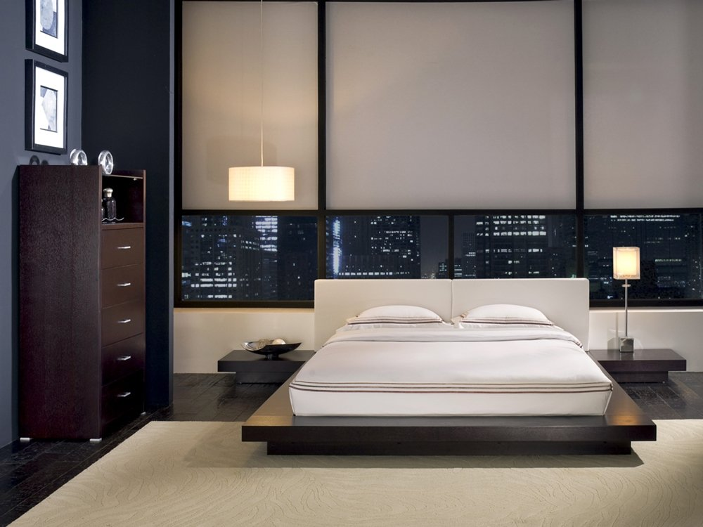 Discreet design of a bedroom in a minimalist style