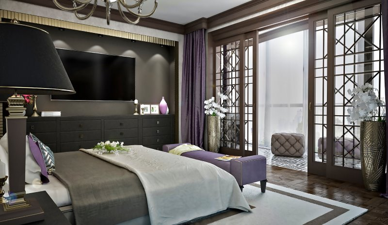 Bedroom in an art deco style for those who love elegance and art