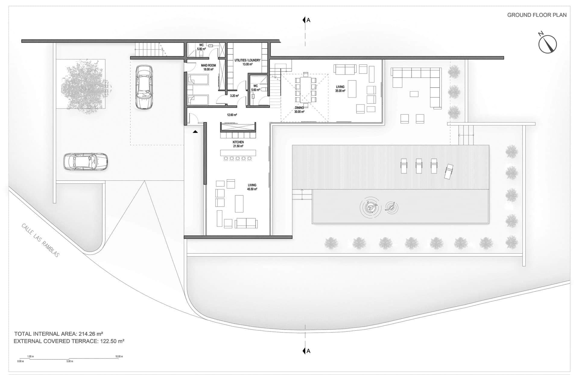 Modern Unexpected Concrete Flat Roof House Plans. Villa Altea first floor