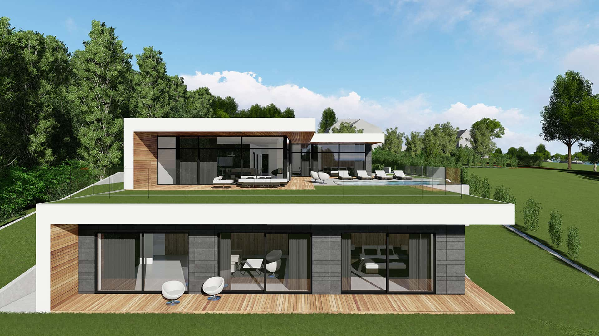 Modern Unexpected Concrete Flat Roof House Plans. Side view of the two-storey villa in Sweden