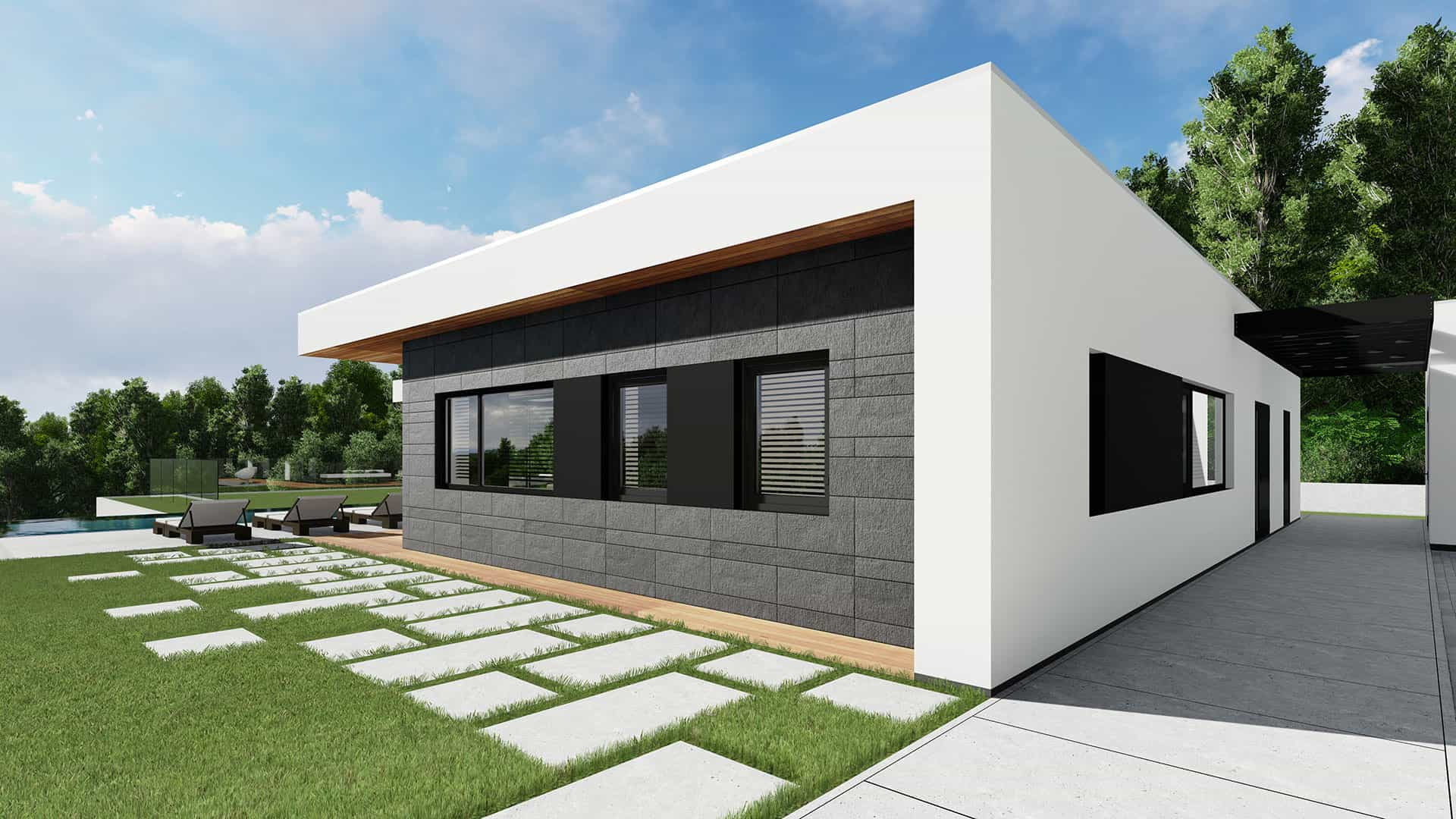 Modern Unexpected Concrete Flat Roof House Plans. Stone panels paved pathwalk