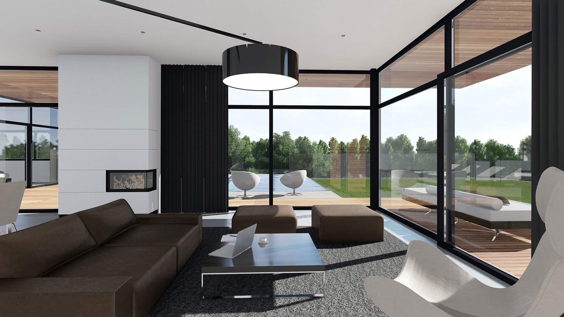 Panoramic windows and huge black floor lamp over the dining zone