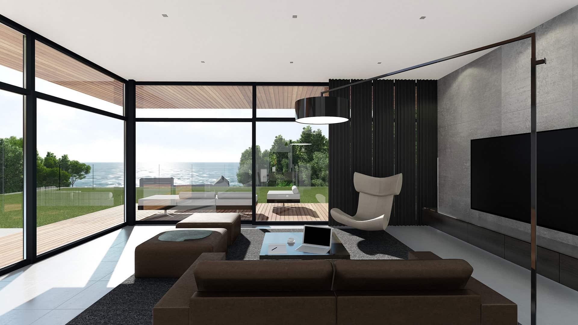 Blakc curtains far huge ceiling-high windows with black frame