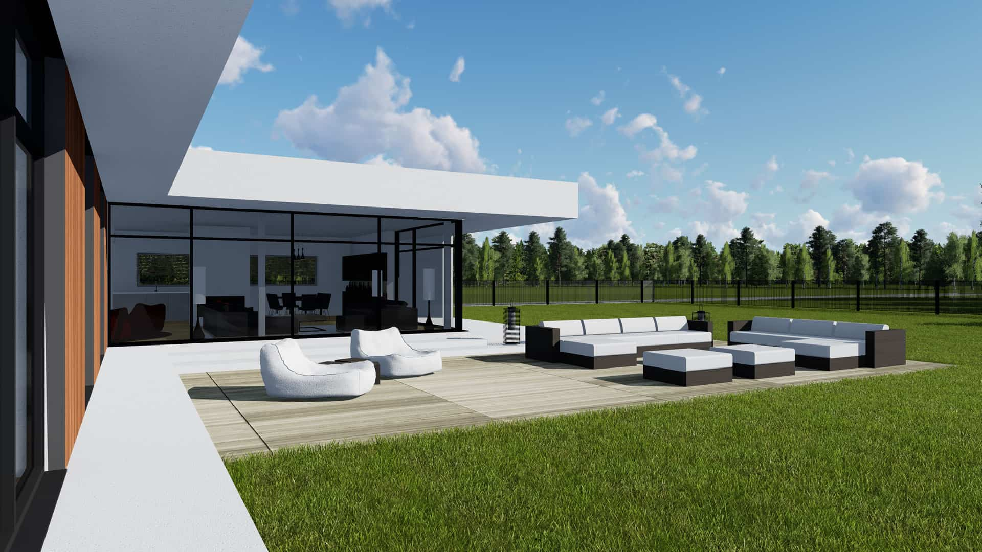 Modern Unexpected Concrete Flat Roof House Plans. Nice barbecue zone for the summer villa
