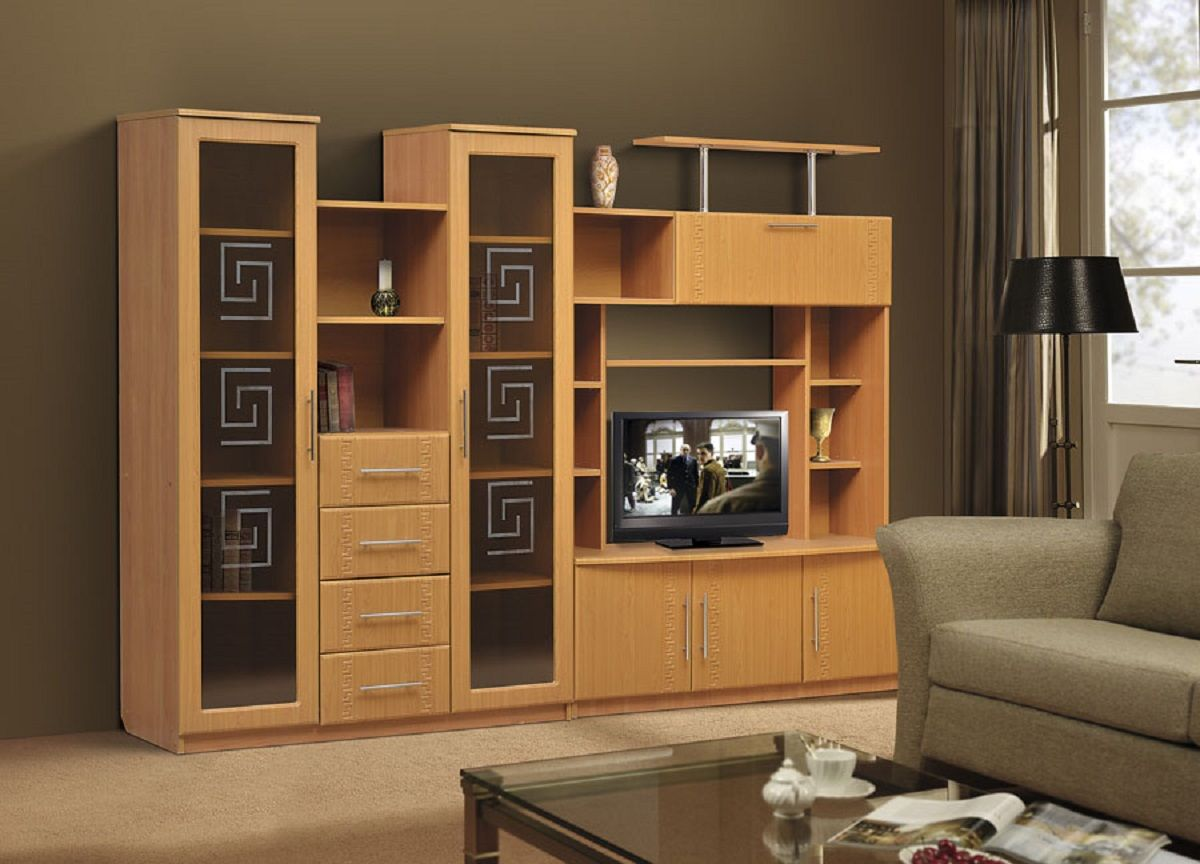 Living Room Cabinet Furniture to Add Practilcal Solutions to the Interior. Simple casual wooden colored furniture set