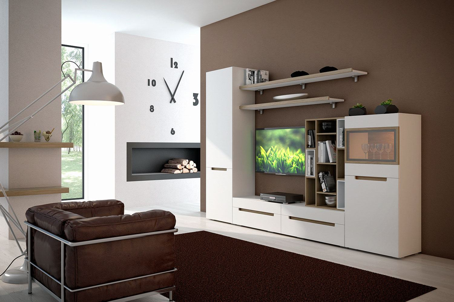White design of the wall with fireplace and the white cabinet furniture