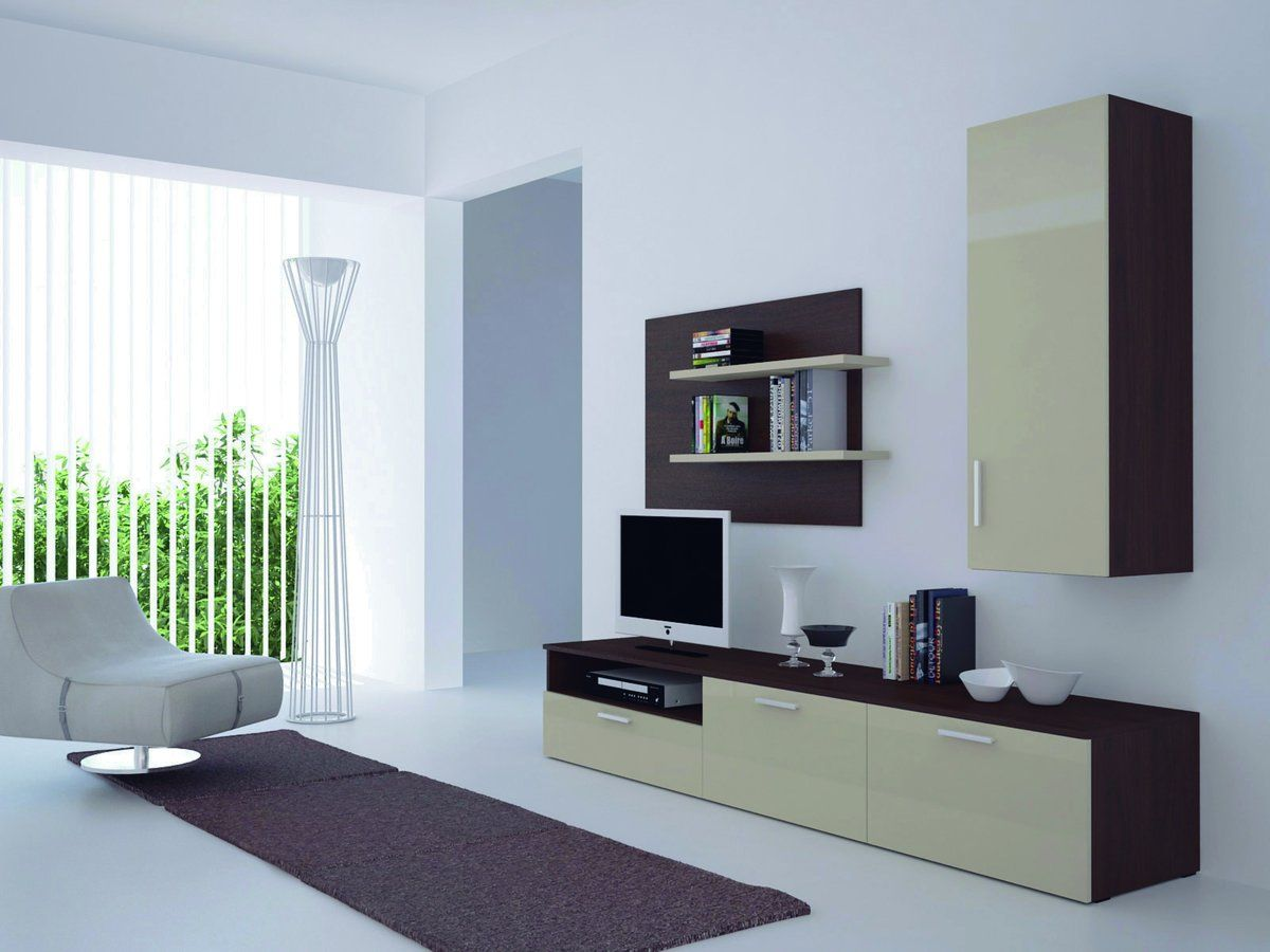 Modern white Scandinavian minimalism for concise room with light wooden cabinet furniture