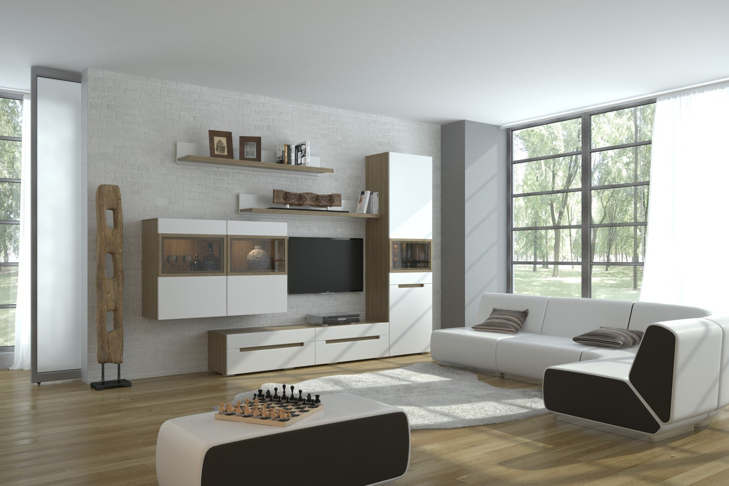 White matte walls and same colored furniture