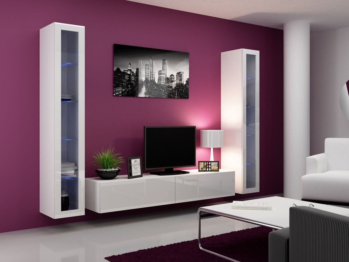 Living Room Cabinet Furniture to Add Practilcal Solutions to the Interior. Crimson wall and white furniture