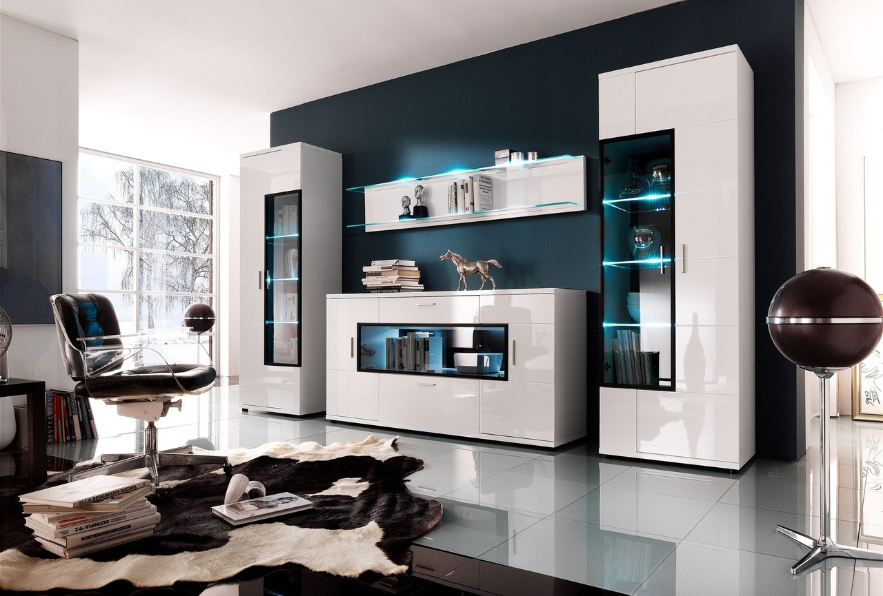 Great modern living room with LED lighting of the shelves and cow pelt in the center
