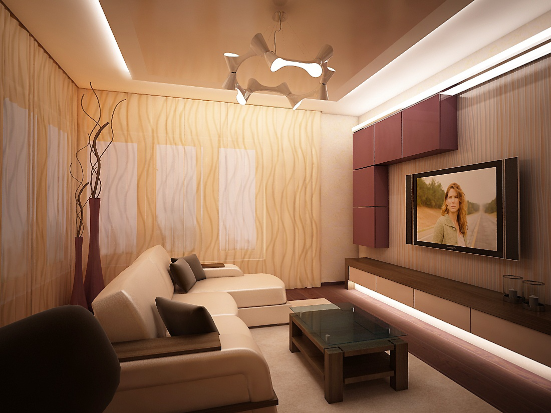 Exceptional Nobility and Elegance of Brown Living Room. Casual modern styled room with a lot LED backlighting and pale pink suspended cabinets