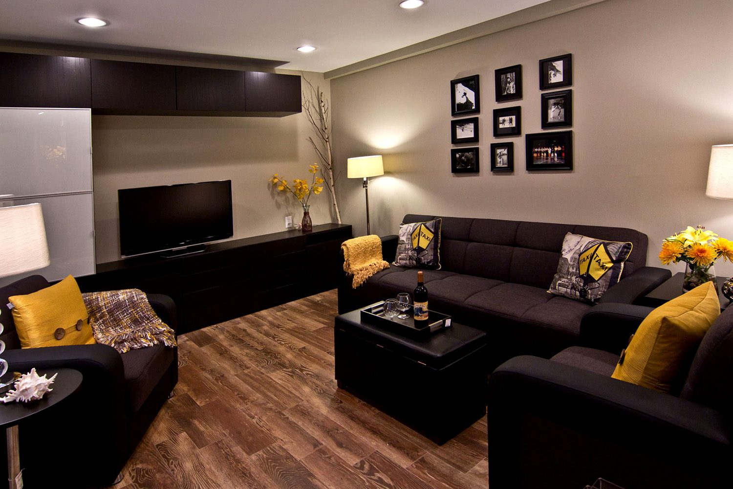 Exceptional Nobility and Elegance of Brown Living Room. Dark furniture for pale gray colored space
