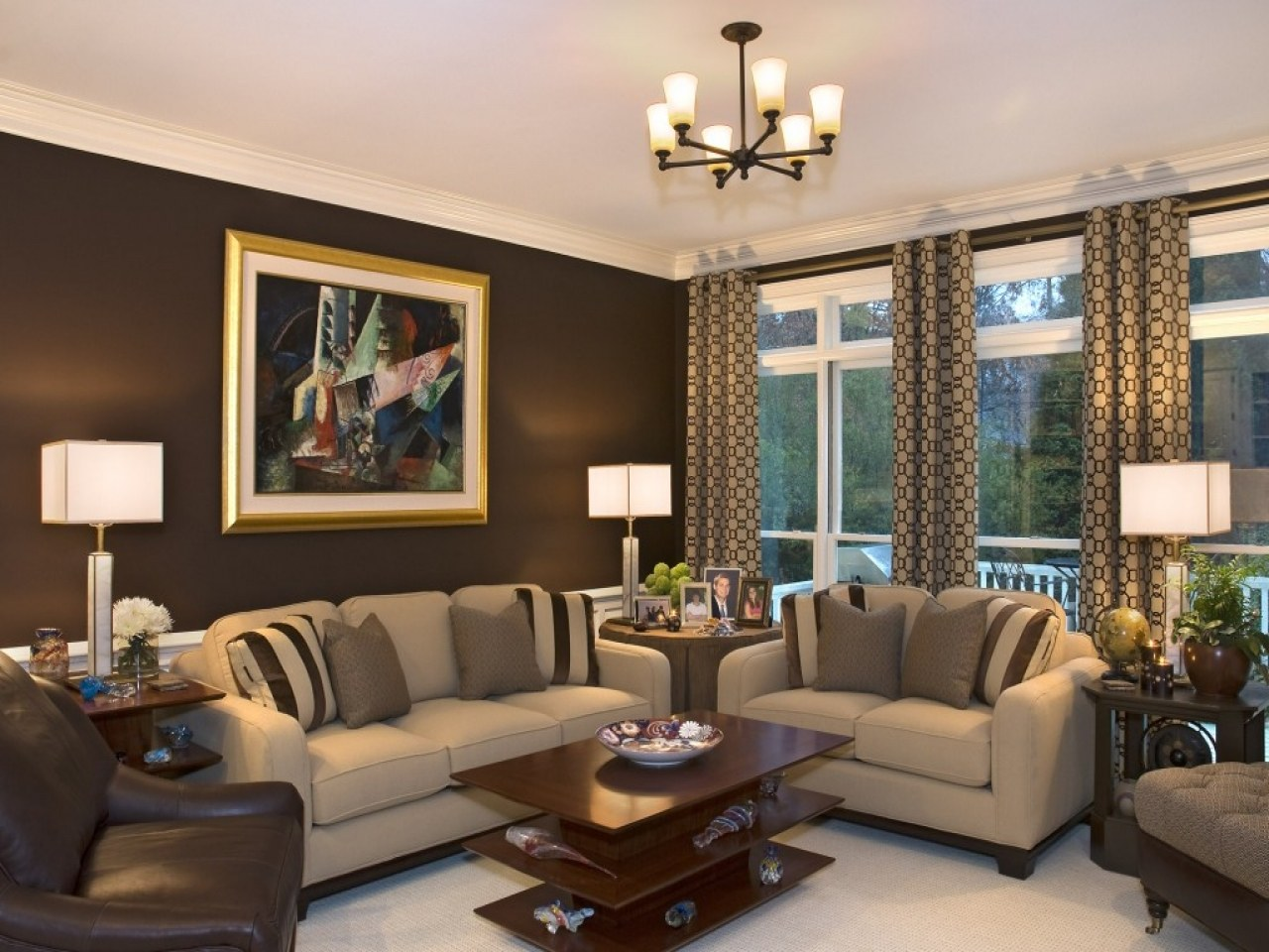 White ceiling and brown walls for classic interior