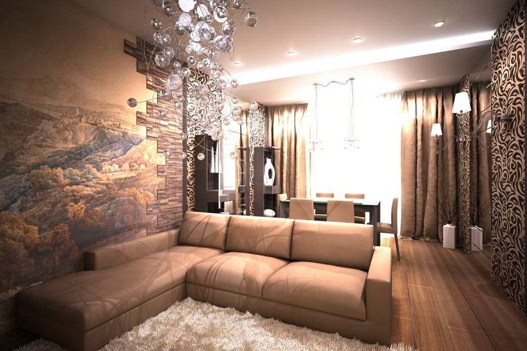 Exceptional Nobility and Elegance of Brown Living Room. Fluffy rug in the living zone with the angular sofa