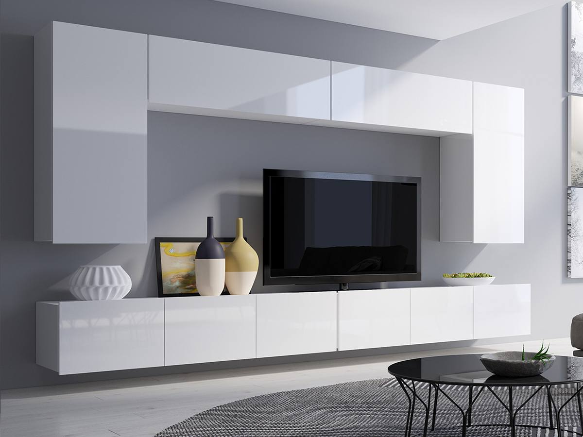 White glossy furniture set around the TV for ultramodern room