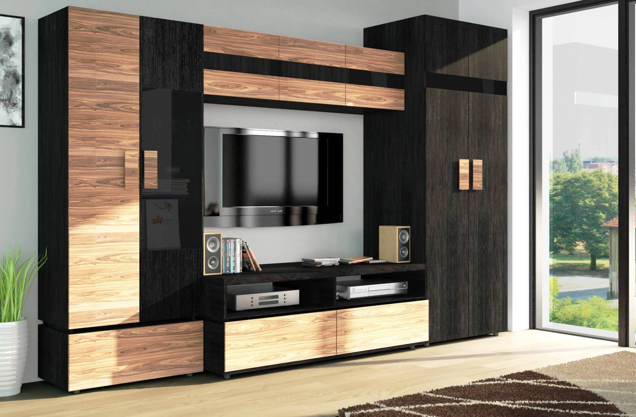 Living Room Cabinet Furniture to Add Practilcal Solutions to the Interior. The monolithic looking dark beige and black furniture set for TV