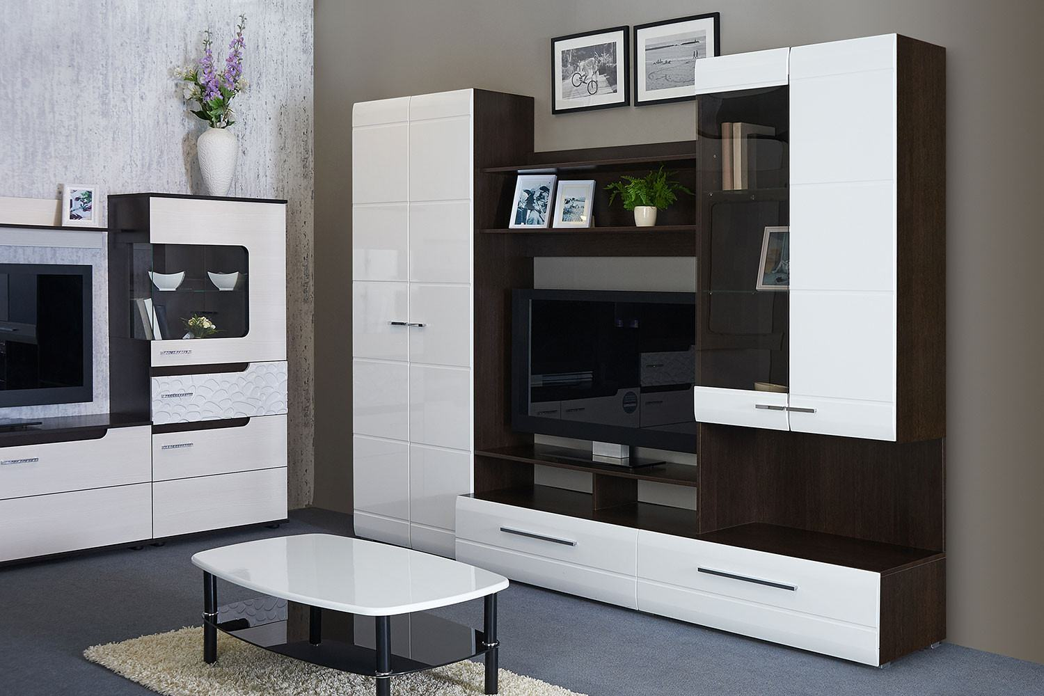 Living Room Cabinet Furniture to Add Practilcal Solutions to the Interior. White and dark combination of colors for casual interior