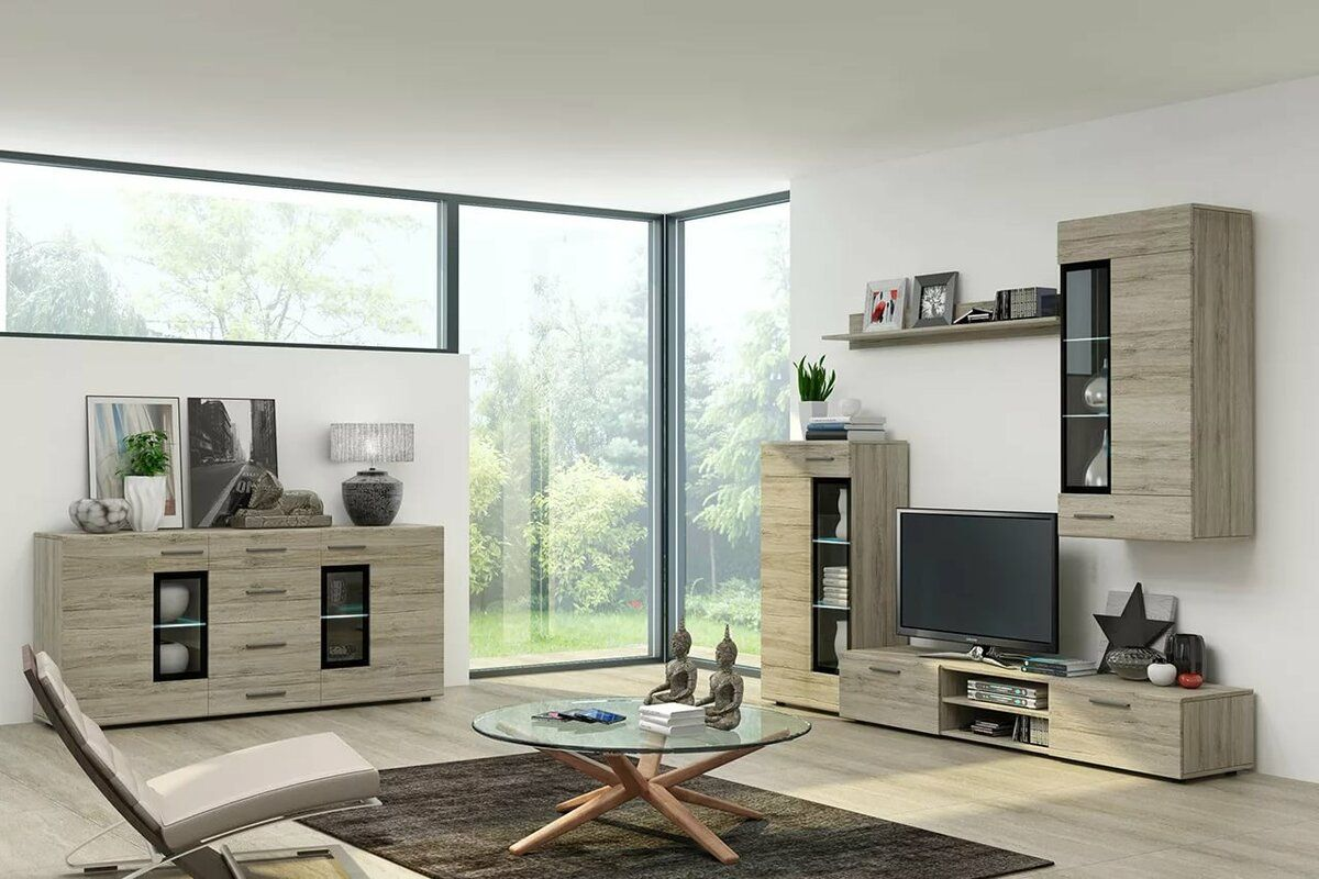 Living Room Cabinet Furniture to Add Practilcal Solutions to the Interior. Modern minimalism with straight linear forms and panoramic window