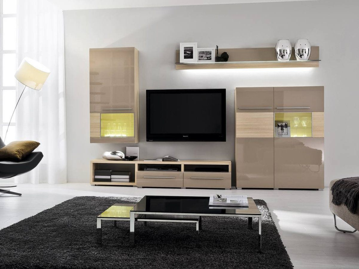 Living Room Cabinet Furniture to Add Practilcal Solutions to the Interior. Beige with sand colored airy furniture set with cabinets and shelves