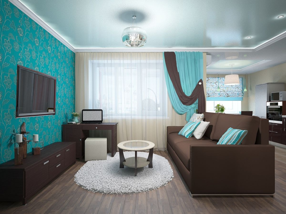Unusual combination of turquoise walls and brown furniture