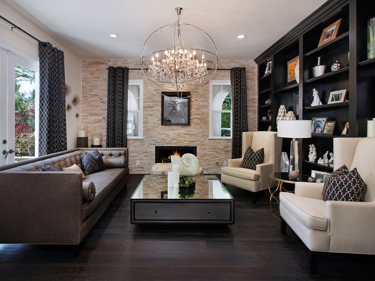 Exceptional Nobility and Elegance of Brown Living Room. Another black and white successful interior with noble dark floor