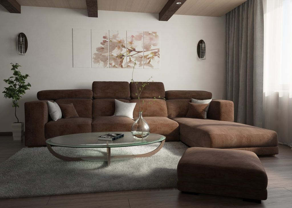 Exceptional Nobility and Elegance of Brown Living Room. Beige colored velours upholstered furniture