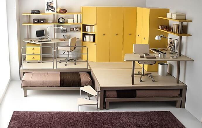 15 Useful & Simple Interior Design Tips to Make Your Space Cozier. Yellow furnoture for study aera at the podium