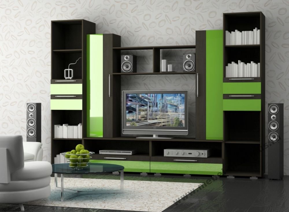 Unusual green and black color combination of the furniture for living room