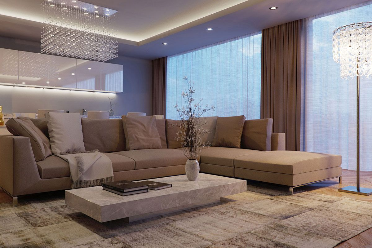 Modern interior design with angular sofa and built-in ceiling fixtures