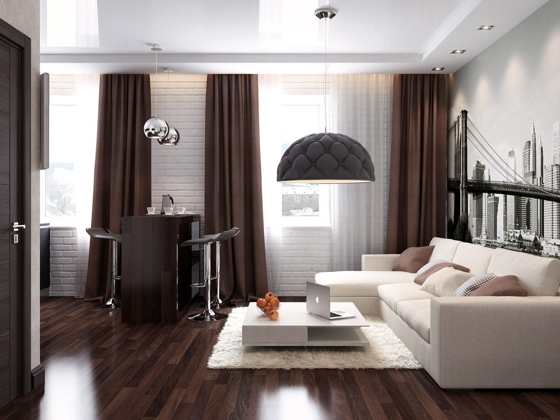 Unusual designed chandelier with quilted shade, brown curtains and noble dark wooden floor
