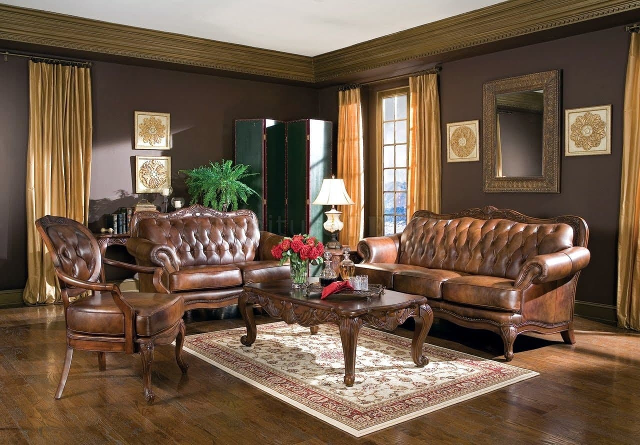 Exceptional Nobility and Elegance of Brown Living Room. Great quilted classic sofas for chatting zone