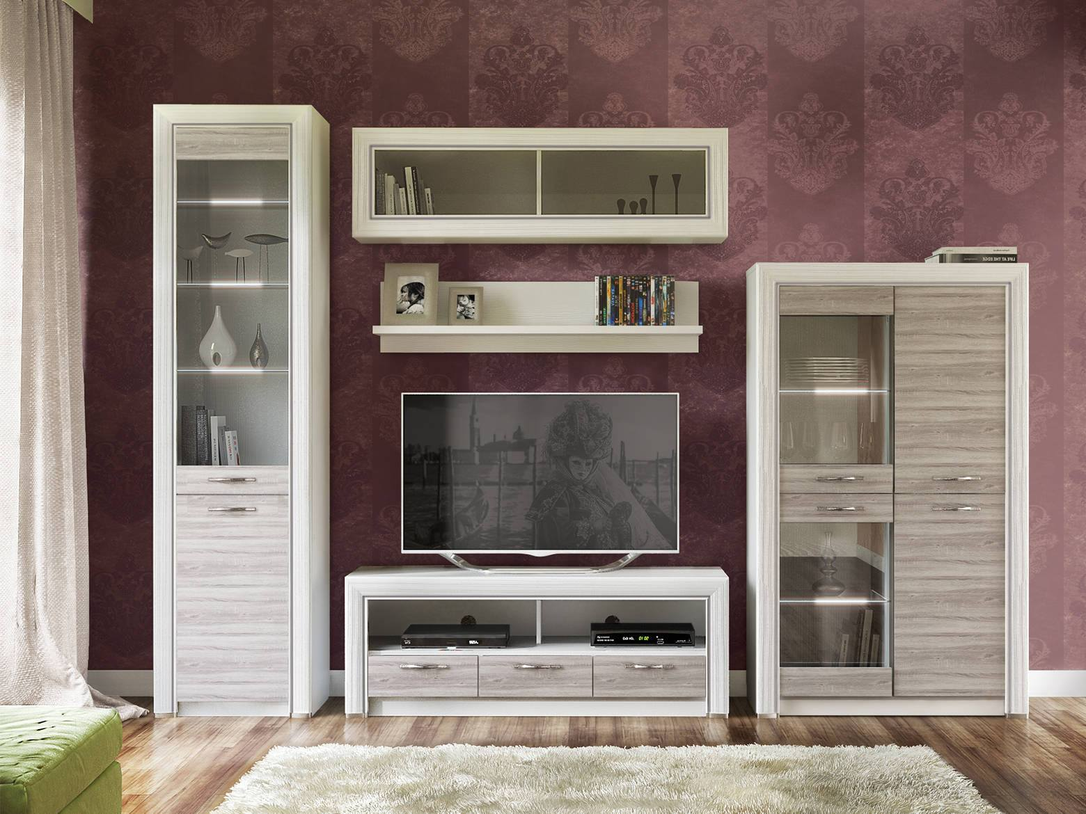 Living Room Cabinet Furniture to Add Practilcal Solutions to the Interior. Ruby colored walls and furniture set with glass inlays
