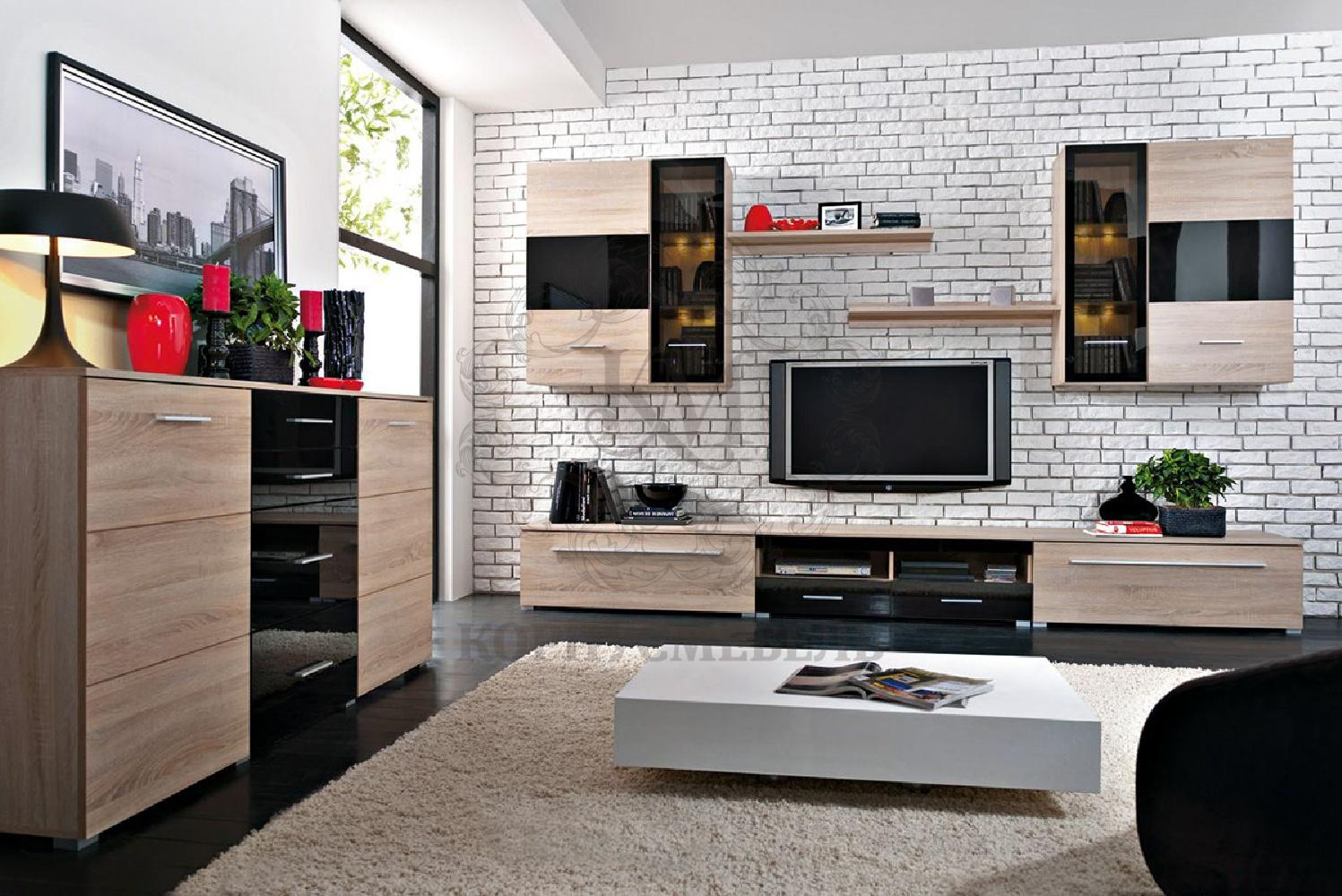 Gerat whitewashed brickwork as the backdrop of wooden cabinet furniture all around the living