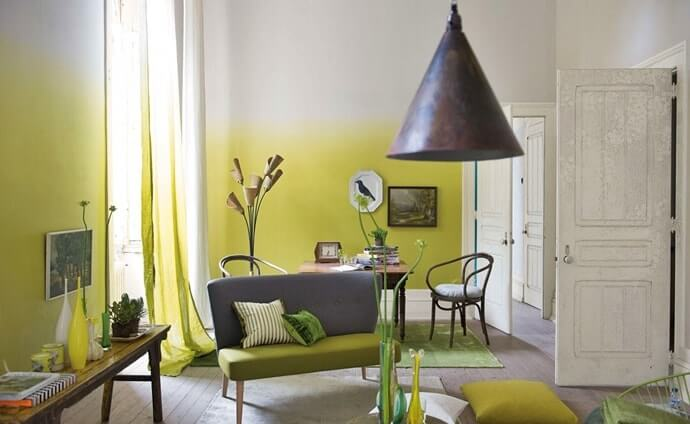 Ombre yellow and white wall for fusion styled room