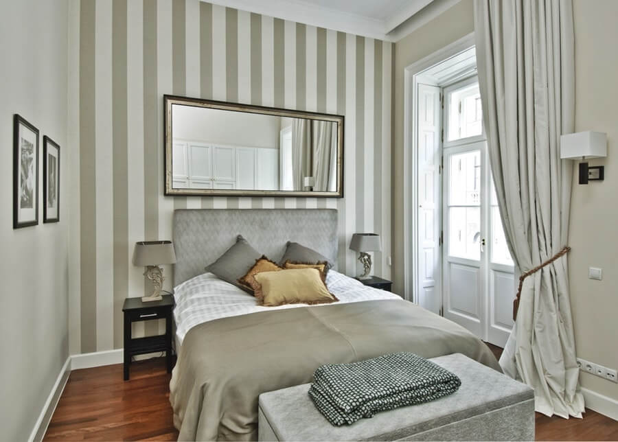 Vertical striped vinyl wallpaper for large classic bedroom