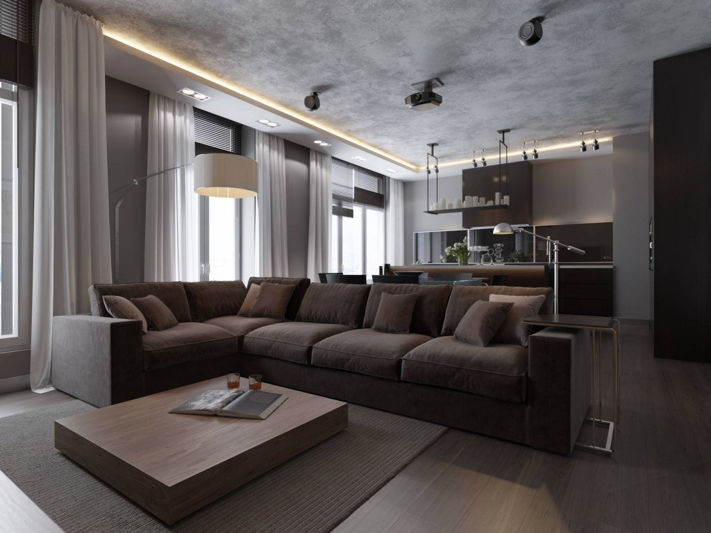 Brown furniture and faux concrete ceiling with perimeter LED lighting