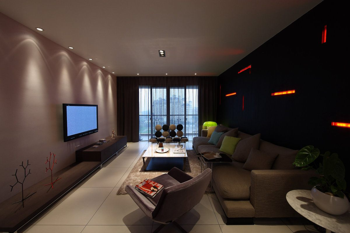 Stunning black accent wall with red backlight