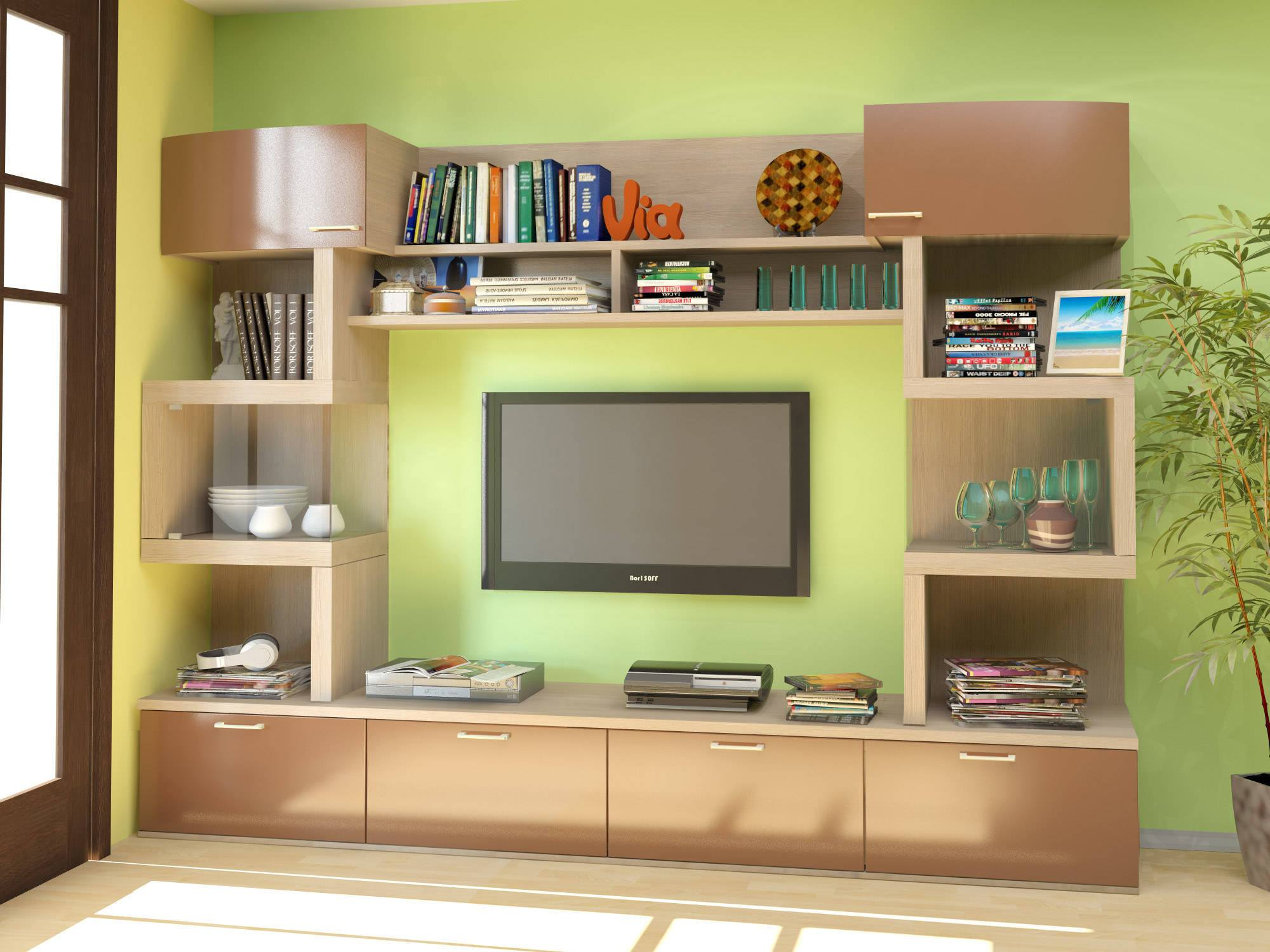 Lime paint of the walls and light wooden cabinet furniture around the TV