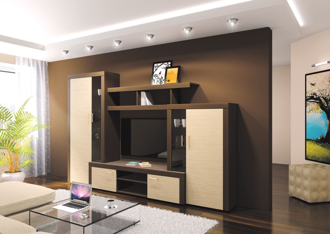 Living Room Cabinet Furniture to Add Practilcal Solutions to the Interior. Dark chocolate wall design